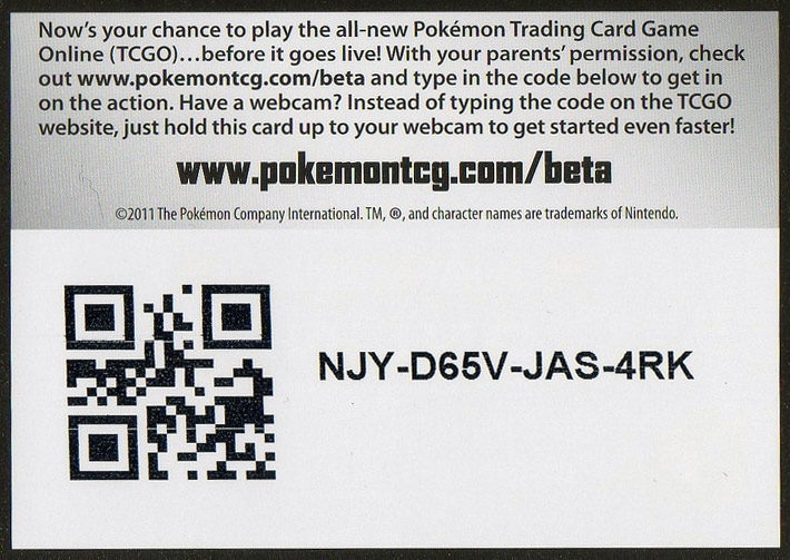 Codes for pokemon online trading card game