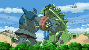 Mecha Tyranitar vs. Golurk in Best Wishes 2