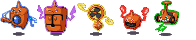 Rotom's Five Formes: Mow, Heat, Wash, Frost, Fan